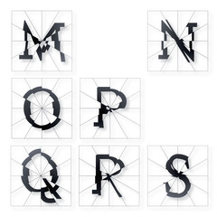 Broken Letters Alphabet Part from M to S