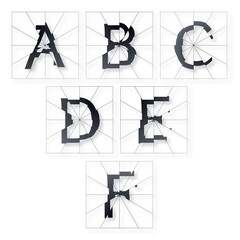 Broken Letters Alphabet Part from A to F