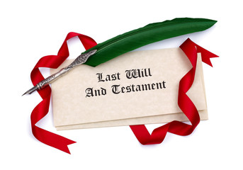 Last Will and Testament papers and quill pen
