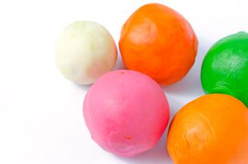 playdough balls on white