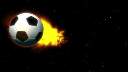 Feuriger Fußball vor Sternenhintergrund