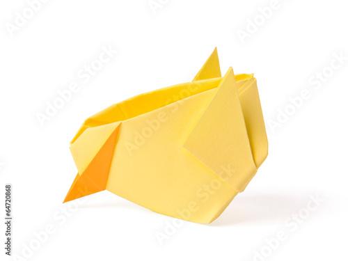 Foto op Canvas Kip Origami yellow chicken