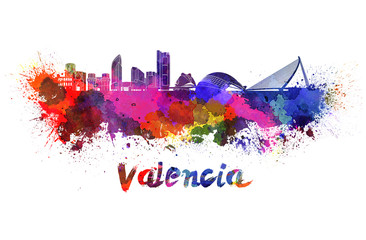 Valencia skyline in watercolor