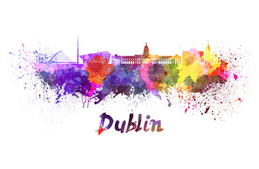 Dublin skyline in watercolor