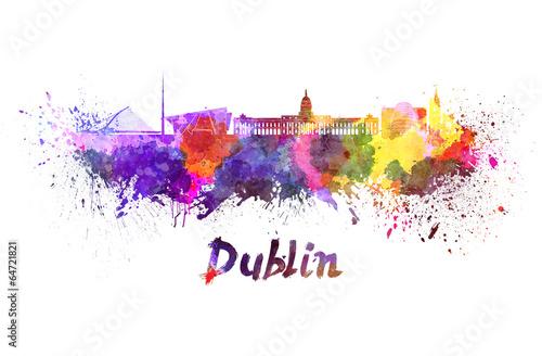 Poster Dublin skyline in watercolor