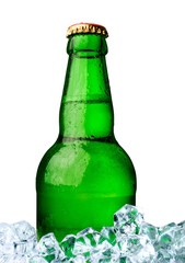 bottle of beer with ice