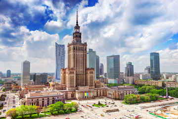 Warsaw, Poland. Palace of Culture and Science and skyscrapers