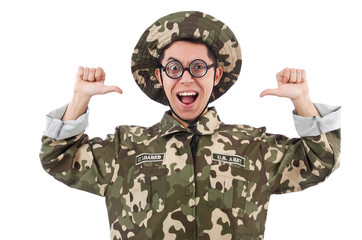 Funny soldier isolated on the white