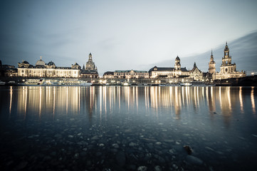 Dresden Skyline at night, Germany