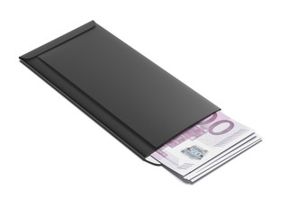 Black envelope with euro bills