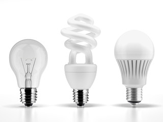 tungsten,fluorescent and LED bulbs