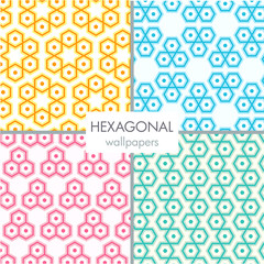 seamless colorful hexagonal pattern wallpaper set