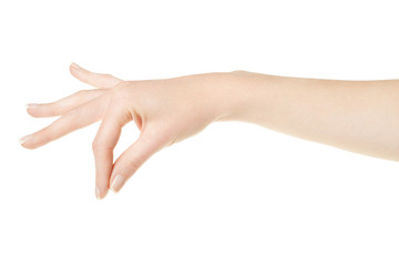 Woman hand with manicure holding items on white, clipping path