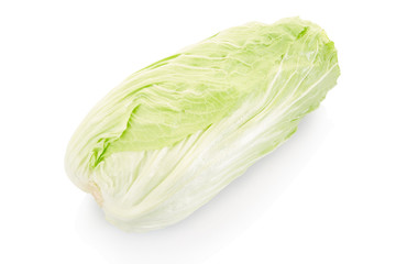 Green chinese long cabbage on white, clipping path