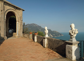 Terrace of Infinity in Vila Cimbrone in Ravello on Amalfi coast