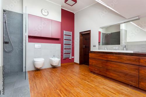 Horizontal view of modern bathroom interior