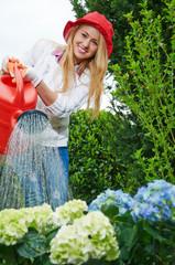 Hübsche junge Frau gießt Blumen