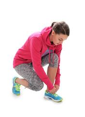 sportliche Frau macht sich zum Jogging fertig