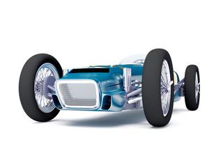 blue vintage racing car