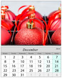 Calendar December 2014. Chritsmas ornaments.