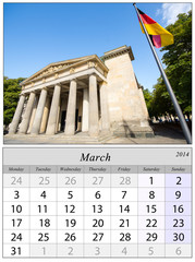 Calendar March 2014. Berlin, Germnay.