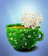 Herb tea cup from grass and flowers, diet concept