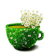 Herb tea cup from grass and flowers, concept for healthcare