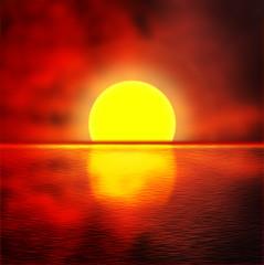 Illustration of sea against the sunset sky. Beautiful seascape.