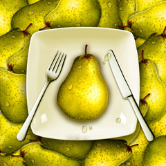 Eating pear, fresh fruits, healthy diet concept