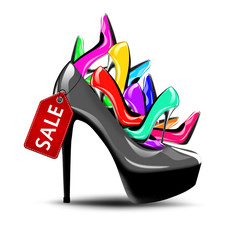 Black shoe with sale tag filled with colourful shoes