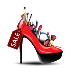 Cosmetics into a woman shoe,  fashion, sale and shopping