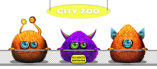 Cartoon funny monsters trapped behind Zoo fence