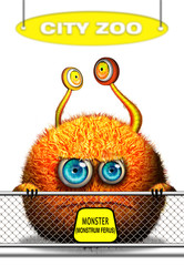 Cartoon monster in city zoo, isolated on white background