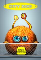 Cartoon monster in city zoo