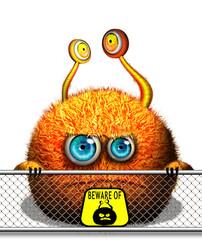 Orange cartoon monster character, mascot