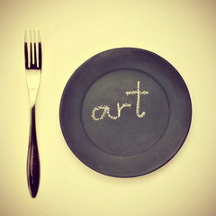 word art written in a plate, with a retro effect