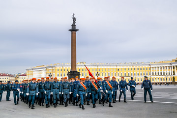 Emergency troops on victory day parade rehearsal.Victory parade