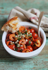 Mediterranean style roasted cherry tomatoes with shrimps