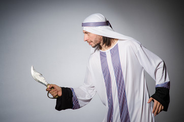 Arab man with sharp knife