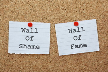 Wall of Shame or Hall of Fame on a cork notice board