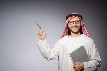 Arab man pressing virtual button