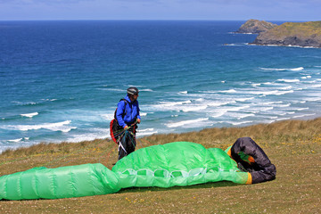 paraglider preparing to fly