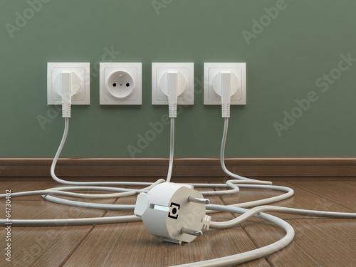 Leinwanddruck Bild Power plugs