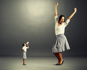 angry woman and big jolly woman