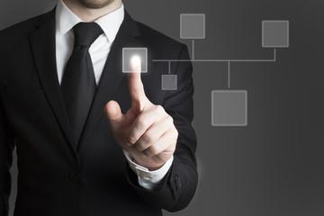 businessman pressing virtual button group