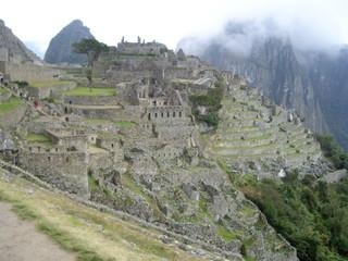 Blick auf die Terrassen von Machu Picchu