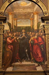 Verona - Paint of Pentecost scene in Saint Anastasia's church