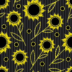 seamless dark striped background with abstract sunflowers