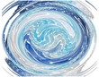 Colourful spiral image in blue, turquoise and grey
