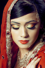 Beautiful indian girl with bridal makeup